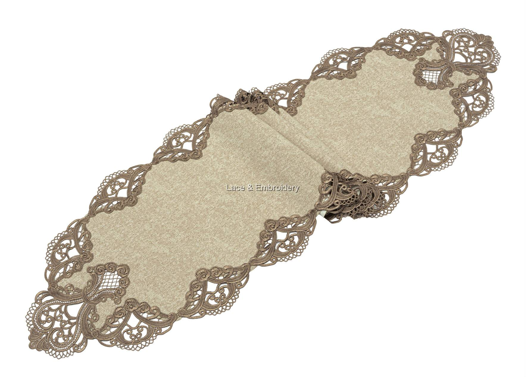 Guipure Lace Floral Poly Velvet Mix Oval Table Runner Dresser Scarf Multi Size Champagne